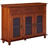 Kings Brand Furniture Wood with Glass Doors Console Sideboard Buffet Table with Storage