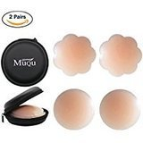 Muqu 2 or 4 Pairs Women's Reusable Adhesive Nipple Covers