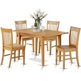 East West Furniture Oak 5-Piece Dinette Table Set