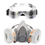KISCHERS Respirator Dust Mask with Anti-Fog Safety Goggle